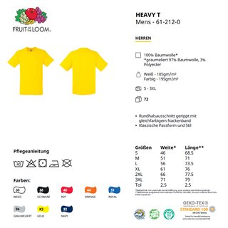 Heavy T-Shirt bedrucken Weiß S Fruit of the Loom